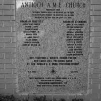 Photograph of the 1995 Cornerstone of Antioch A.M.E. Church, Stone Mountain, Georgia, 2016 July 16