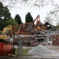 Photograph of former Antioch A.M.E. Church demolition, Decatur, Georgia, 2014 April 18